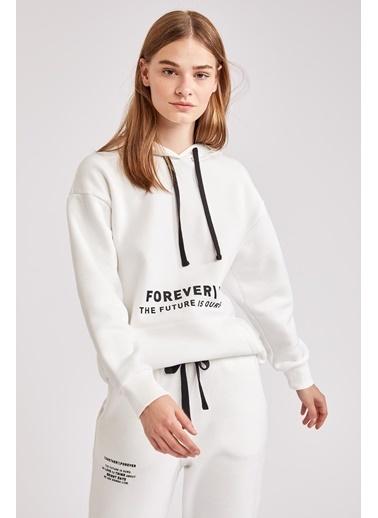 DeFacto Baskılı Kanguru Cepli Kapüşonlu Sweatshirt Beyaz